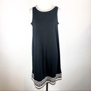 J. Jill Black & White Crochet Trim Dress XS